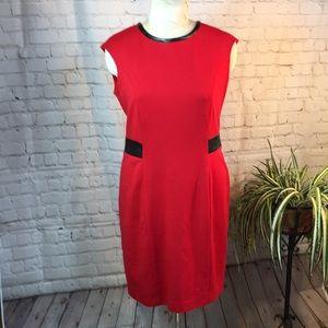 Calvin Klein red dress w black detail size 14